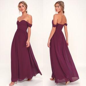 Lulus Harmonious Love Burgundy Maxi Dress Medium